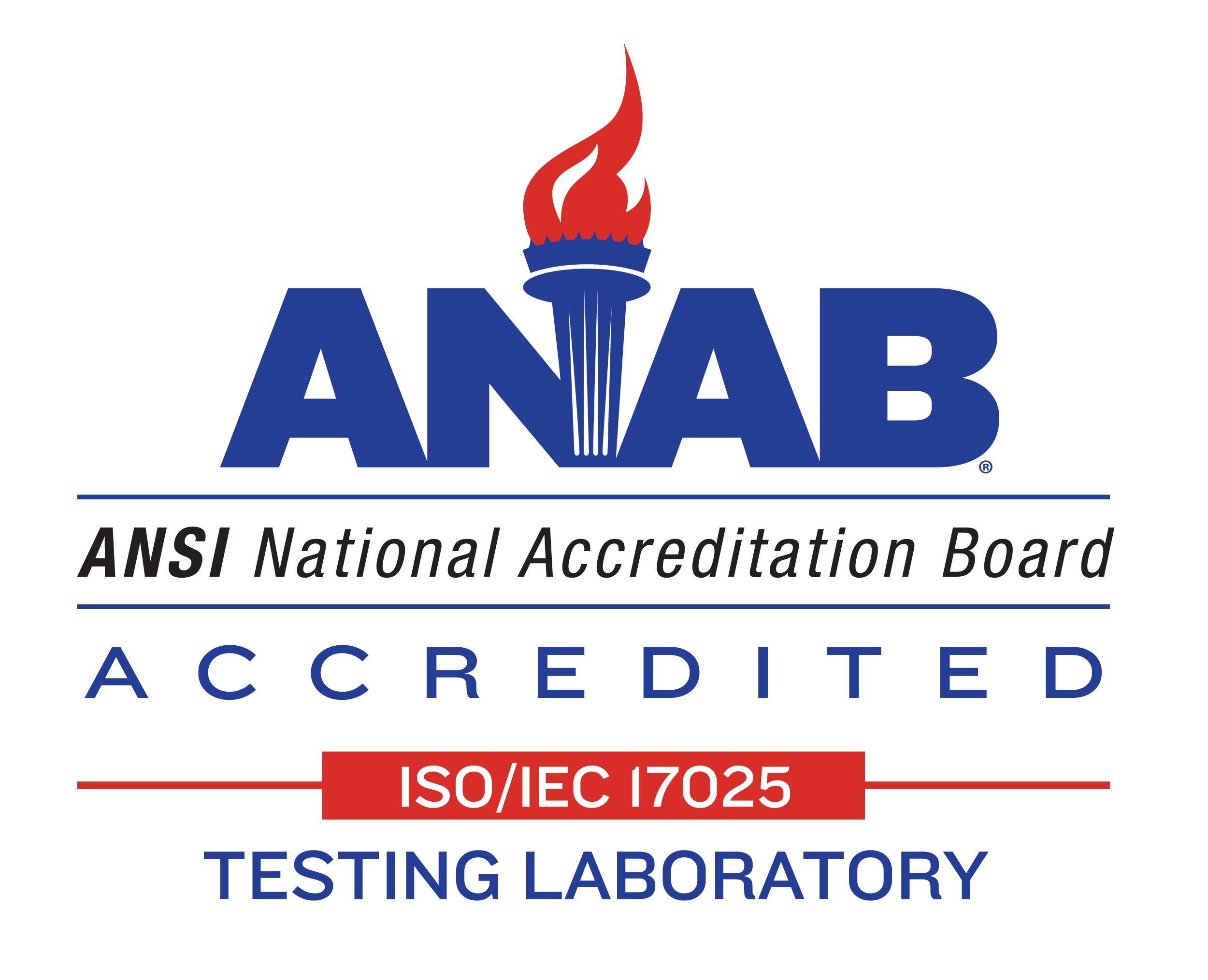 ANSI National Accreditation Board Accredited Testing lab